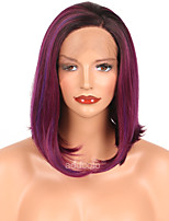 Synthetic Lace Front Wigs Purple Highlight Color Short Hair Bob Wigs Heat Resistant Lace Front Synthetic Wigs