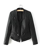 Для женщин Спорт На выход На каждый день Осень Зима Кожаные куртки V-образный вырез,Простой Однотонный Обычная Длинный рукав,Другое