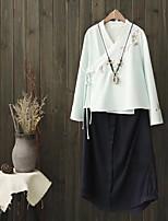 Для женщин На выход На каждый день Лето Осень Рубашка V-образный вырез,Простое Очаровательный Уличный стиль Однотонный ВышивкаДлинный
