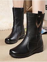 Для женщин Ботинки Удобная обувь Армейские ботинки Натуральная кожа Полиуретан Зима Повседневные Черный На плоской подошве