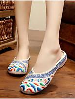 Для женщин Обувь Полотно Лето Удобная обувь Тапочки и Шлепанцы Назначение Повседневные Красный Синий