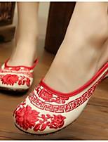 Для женщин Обувь Ткань Лето Удобная обувь Тапочки и Шлепанцы Назначение Повседневные Красный Синий