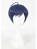 Perruque Synthétique Sans bonnet Court Raide Bleu Perruque de Cosplay Perruque Déguisement