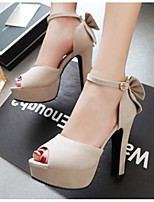 Women's Shoes PU Spring Comfort Heels For Casual Black Beige Red Blue