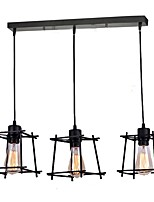 3 Head Vintage Black Metal Cage Shade Pendant Lights Living Room Dining Room Light Fixture