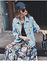 Women's Casual/Daily Simple Fall Denim Jacket,Solid Print Shirt Collar Long Sleeve Regular Polyester