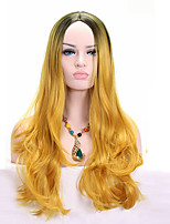 Natural Long Body Wave Middle Part Ombre Blonde Wig Synthetic Wig Heat Resistant Hair Cosplay Wigs