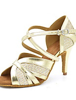 Women's Latin Faux Leather Sandals Performance Sparkling Glitter Stiletto Heel Gold 3