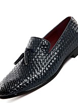 Men's Loafers & Slip-Ons Comfort All Seasons Real Leather Casual Black Gray Navy Blue Flat