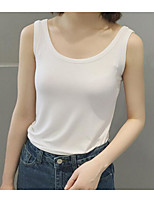 Women's Going out Simple Tank Top,Solid Strap Sleeveless Cotton
