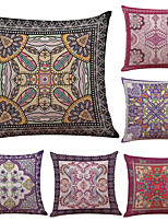 Set of 6 Gorgeous National Pattern Linen Pillowcase Sofa Home Decor Cushion Cover  Throw Pillow Case (18*18inch)