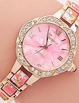 Жен. Модные часы Часы-браслет Кварцевый Стразы Цветной Plastic Группа Цветы ПовседневнаяЧерный Синий Красный Коричневый Зеленый Розовый