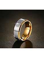 Men's Band Rings AAA Cubic Zirconia Fashion Vintage Costume Jewelry Titanium Steel Round Jewelry For Wedding Engagement Ceremony