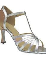 Women's Latin Faux Leather Sandals Performance Buckle Cuban Heel Silver Almond 3
