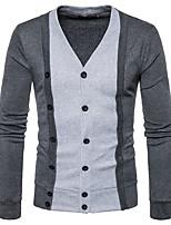 Men's Casual/Daily Simple Regular Cardigan,Print Stand Long Sleeves Cotton Spring Winter Medium Micro-elastic