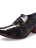 Для мужчин Туфли на шнуровке Формальная обувь Осень Зима Лакированная кожа Повседневные Для вечеринки / ужина На толстом каблуке Золотой