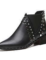 Women's Boots Combat Boots Formal Shoes Fall PU Walking Shoes Casual Dress Beading Flat Heel Black 1in-1 3/4in