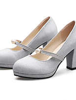 Women's Wedding Shoes Comfort Paillette Nubuck leather Spring Casual Party & Evening Comfort Silver Gold 4in-4 3/4in