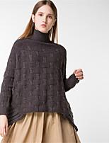 Для женщин На каждый день Простое Обычный Пуловер Однотонный,Хомут Длинный рукав Шерсть Хлопок Полиэстер Осень Зима Толстая