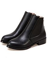 Women's Boots Fashion Boots Fall Winter Leatherette Dress Office & Career Zipper Low Heel Gold Black Flat