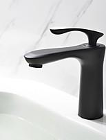 Художественный По центру Керамический клапан Одной ручкой одно отверстие for  Начищенная бронза , Ванная раковина кран