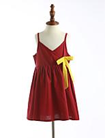 Девичий Платье Хлопок Однотонный Лето Без рукавов