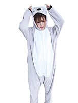 Kigurumi Pajamas Koala Festival/Holiday Animal Sleepwear Halloween Fashion Embroidered Flannel Fabric Cosplay Costumes Kigurumi For