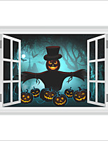 Wall Stickers Wall Decas Style Halloween Witch Pumpkin Head Scarecrow PVC Wall Stickers