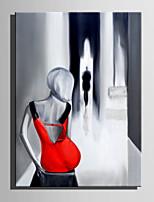 Ручная роспись Люди Вертикальная,Абстракция 1 панель Холст Hang-роспись маслом For Украшение дома