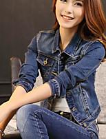 Feminino Jaqueta jeans Casual Simples Primavera Outono,Sólido Curto Poliéster Colarinho de Camisa Manga Longa