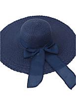 Для женщин На каждый день Отпуск Шапки Соломенная шляпа Шляпа от солнца,Лето Солома Однотонный Чистый цвет
