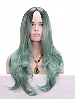 Cosplay Mint Green Ombre Color Long Wave Africa American wigs Synthetic Ladys' Wig