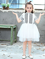 Girl's Cotton Fashion And Lovely Lace Hollowed-Out Lace Short-Sleeved Gauze Skirt Pure Cotton Lining Princess Dress
