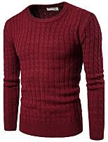 Для мужчин На каждый день Простое Длинный Пуловер Однотонный Радужный,Круглый вырез Длинный рукав Хлопок Весна Зима Средняя