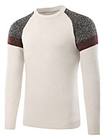 Men's Sports Going out Casual/Daily Simple Regular Pullover,Color Block Round Neck Long Sleeves Wool Fall Winter Medium Stretchy