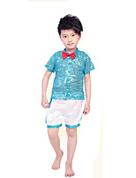 Jazz Outfits Boys' Performance Polyester Bowknot Pearls 2 Pieces Short Sleeve High Tops Shorts