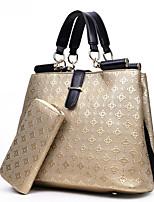 Mulher Bolsas Todas as Estações Couro Ecológico Conjuntos de saco com para Casual Azul Dourado Branco Preto