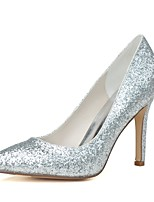 Feminino Sapatos De Casamento Plataforma Básica Primavera Verão Glitter Paetês Casamento Festas & Noite Salto Agulha Dourado Prata7,5 a