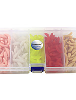 Anmuka 250Pcs 5 Colors 2cm Worm Soft Fishing Lure Lifelike Bionics Bread Bug Worms Maggots Grubs with Fishing Tackle Box