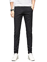 Men's Mid Rise Micro-elastic Chinos PantsSimple Straight Slim Solid Plaid/Check UK-519
