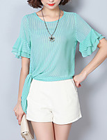 Women's Going out Casual/Daily Simple Summer Fall Blouse,Striped Round Neck Half Sleeves Polyester Medium