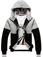 Men's Casual/Daily Hoodie Color Block Hooded Inelastic Cotton Long Sleeve Winter