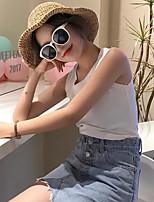 Mujer Simple Casual/Diario Verano Tank Tops,Escote Redondo Un Color Sin Mangas Algodón Medio
