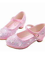 Girls' Flats Comfort Novelty Flower Girl Shoes Fall Winter Synthetic Microfiber PU Casual Dress Rhinestone Buckle Flat Heel Blushing Pink