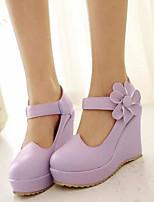 Mujer Zapatos PU Primavera Confort Tacones Para Casual Beige Morado Rosa