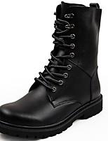 Men's Boots Comfort Spring Fall Winter PU Casual Flat Heel Black Light Brown Flat