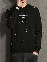 Men's Plus Size Casual Slim Banana Pattern Hooded Sweatshirt Cotton Spandex