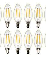 4W LED лампы накаливания C35 4 COB 400 lm Тёплый белый Диммируемая Декоративная AC 220-240 AC 110-130 V 12 ед.