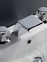 Contemporary Widespread Waterfall with  Brass Valve Two Handles Three Holes for  Chrome , Bathroom Sink Faucet