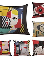 Set of 6  Picasso Abstract Painting Linen Cushion Cover Home Office Sofa Square Pillow Case Decorative Cushion Covers Pillowcases (18*18Inch)